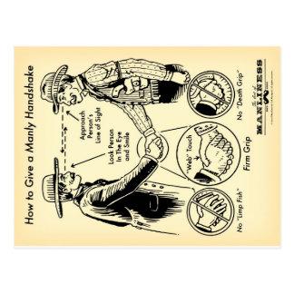 男らしい握手の郵便はがきを与える方法 ポストカード