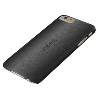 男らしい金属黒はアルミニウム一見にブラシをかけました BARELY THERE iPhone 6 PLUS ケース