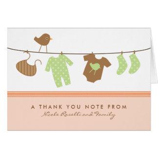 男女兼用なベビーの洗濯のサンキューカード(モモ) カード