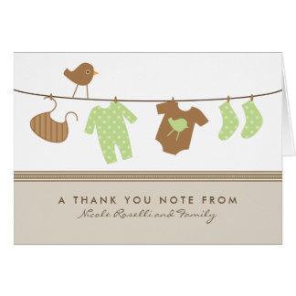 男女兼用なベビーの洗濯のサンキューカード(茶色) カード