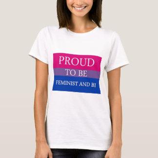 男女同権主義およびBiがあること誇りを持った Tシャツ