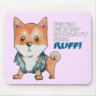 男女同権主義の柴犬犬の水彩画の絵画 マウスパッド