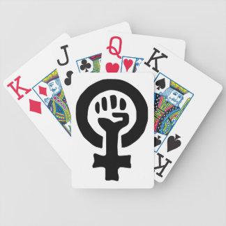 男女同権主義の記号のロゴ バイスクルトランプ