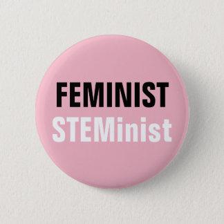 男女同権主義のSTEMinistボタンピンクの茎の抵抗 缶バッジ