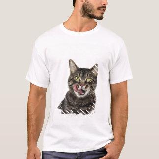 男性に国内に虎猫猫の舐めることのヘッド打撃 Tシャツ