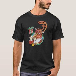 男性へ休日のクリスマスのトナカイのTシャツをまばたきさせます Tシャツ