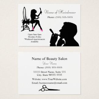 男性へ白黒美容院および女性 名刺