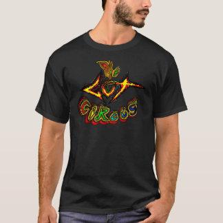 男性へ腸のサーカスのロゴの黒のTシャツ Tシャツ
