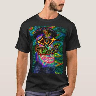 男性へ腸のサーカスのBuzzmeisterのロゴの黒のTシャツ Tシャツ