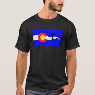 男性コロラド州の旗のバイクのTシャツ Tシャツ