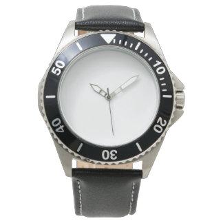 男性用ステンレス製の黒い革バンドの腕時計 ウオッチ