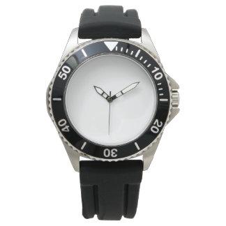 男性用ステンレス鋼の黒のゴム製革紐の腕時計 腕時計