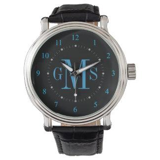男性用上品で名前入りなモノグラムの腕時計 腕時計