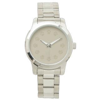 男性用暗灰色および銀のPawprintの腕時計 腕時計