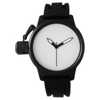 男性用王冠の保護装置の黒のゴム製革紐の腕時計 腕時計