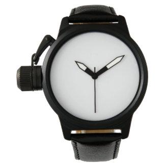 男性用王冠の保護装置の黒の革バンドの腕時計 ウォッチ