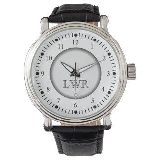 男性用白黒モノグラムの腕時計 腕時計