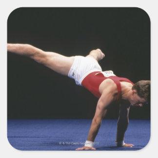 男性|体育専門家|peforming|ルーチン|床 正方形シール・ステッカー