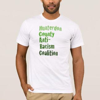 男性Hunterdonの人種差別反対主義の緑の文字 Tシャツ