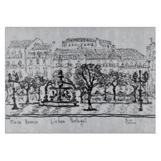 町の広場Placa Rossio |リスボン、ポルトガル カッティングボード