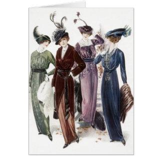 町の招待カードのヴィンテージの女性女性夜 カード
