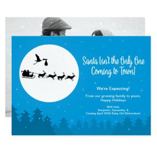 町を来るクリスマスの妊娠の発表の写真 12.7 X 17.8 インビテーションカード