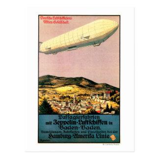町ポスター上のLuftschiffのツェッペリン型飛行船の飛行船 ポストカード
