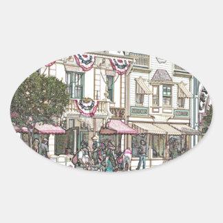 町、米国 楕円形シール