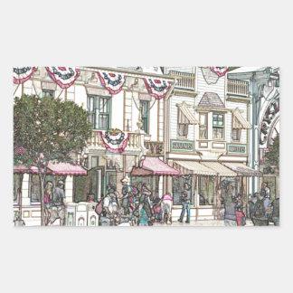 町、米国 長方形シール