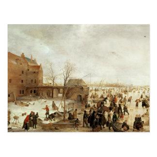 町、c.1615の近くの氷の場面 ポストカード