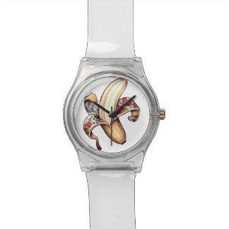 画像的なバナナのロゴの腕時計 腕時計