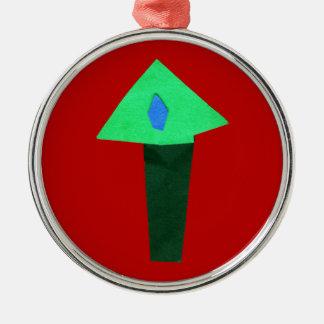 画用紙の切り出しのクリスマスツリー メタルオーナメント