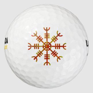 畏怖の古代Norseのデザインの舵輪 ゴルフボール