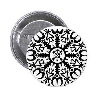 畏怖- Aegishjalmur第1 (黒)のヘルメット 5.7cm 丸型バッジ