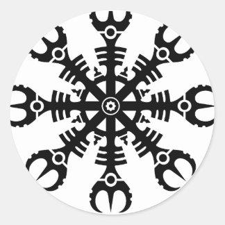 畏怖- Aegishjalmur No.2 (黒)のヘルメット ラウンドシール