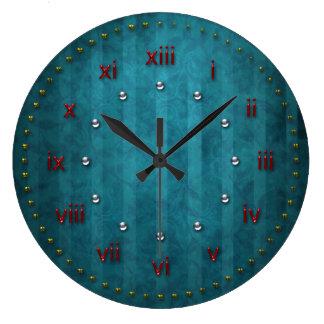 番号が付いているティール(緑がかった色)のターコイズによって除去されるグランジ ラージ壁時計