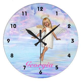 番号が付いている名前入りな天使の空の柱時計- ラージ壁時計