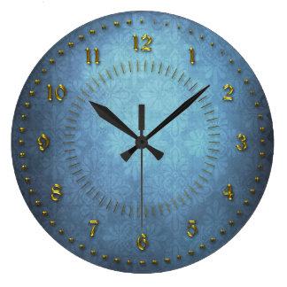 番号が付いている豊富で青いグランジ ラージ壁時計