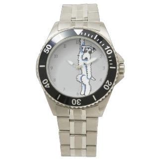 番号が付いているClingy Sealyhamテリアのアナグマか白 腕時計