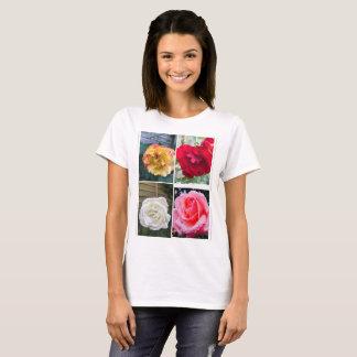 異なったバラは白い女性の基本的なTシャツを着色します Tシャツ