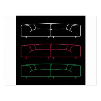 異なった色の居間のモダンなソファー はがき