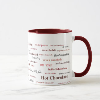 異なった言語のココアのマグ(赤で) マグカップ