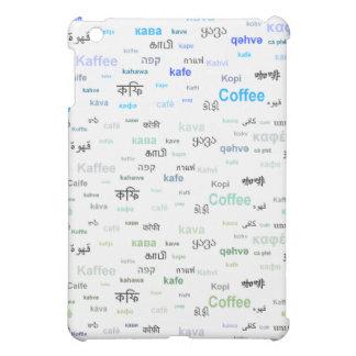 異なった言語のコーヒー-青 iPad MINIケース