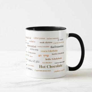 異なった言語(茶色)のココアのマグ マグカップ
