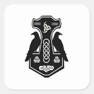 異教のなケルト族のNorseのトールのハンマー スクエアシール