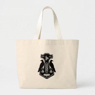 異教のなケルト族のNorseのトールのハンマー ラージトートバッグ