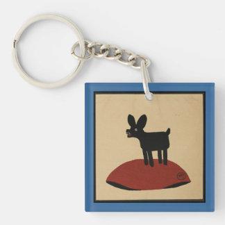 異様でおもしろいな見る犬-カラフルなさし絵 キーホルダー