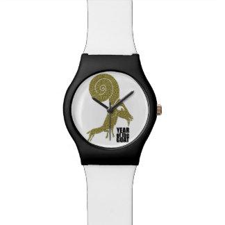 異様なラムのヒツジのヤギ年の白い腕時計 腕時計