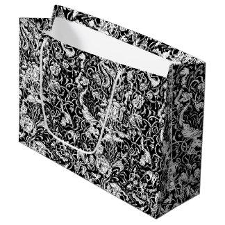 異様な庭の白黒ギフトバッグ ラージペーパーバッグ