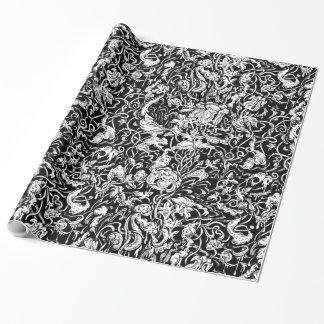 異様な庭の白黒包装紙 ラッピングペーパー